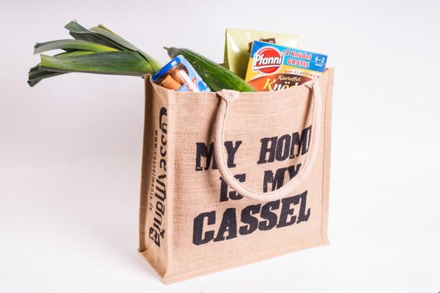 Jute-Einkaufstasche - My home is my Cassel